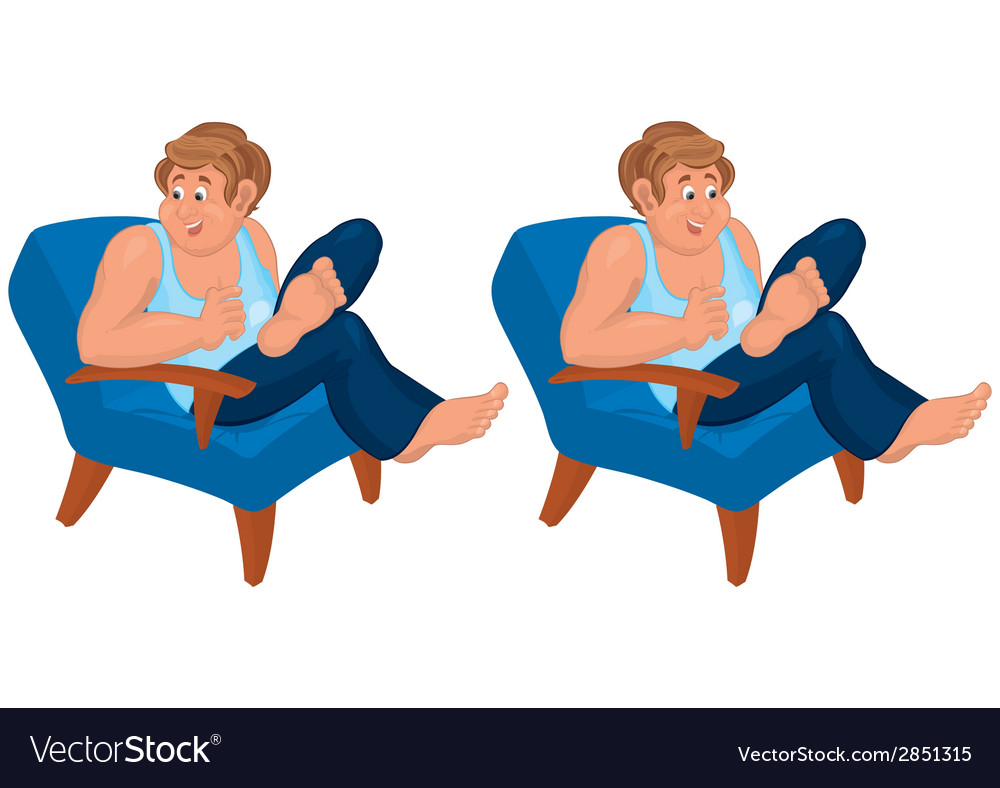 Happy cartoon man sitting in blue chair in blue vector