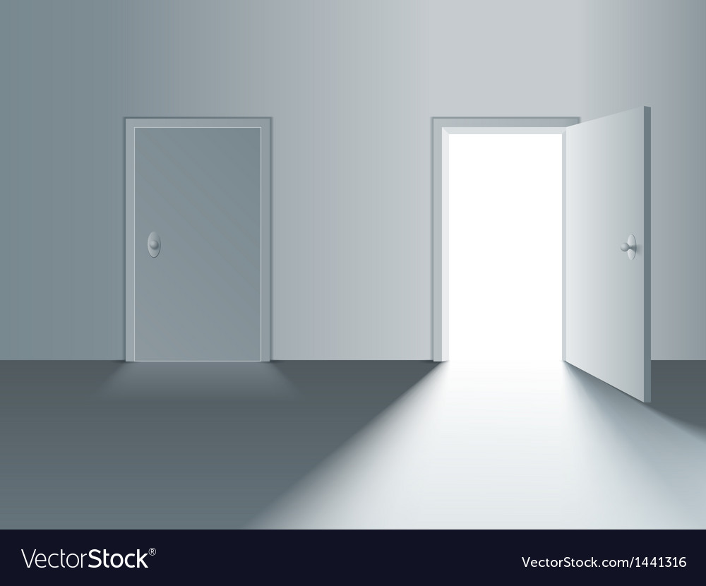 Closed and open door vector