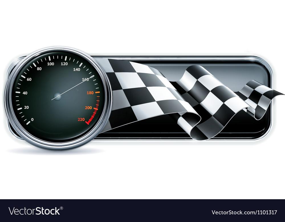 Racing banner with speedometer vector