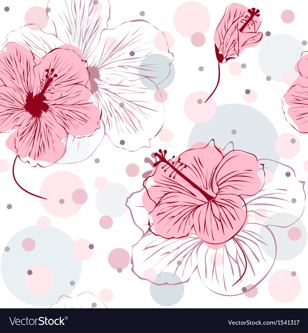 Seamless pattern with hand drawn hibiscus flowers vector