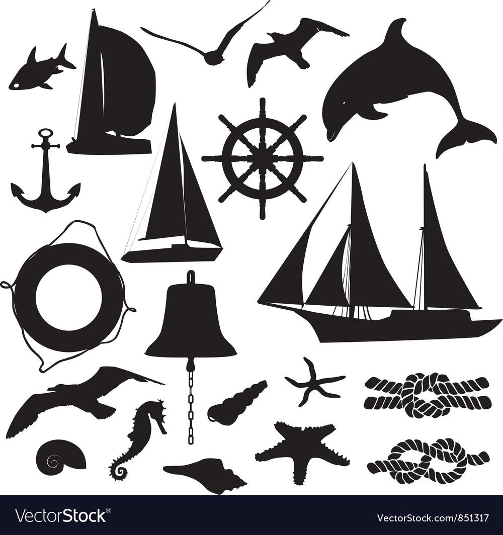 Set of silhouettes symbolizing the marine leisure vector