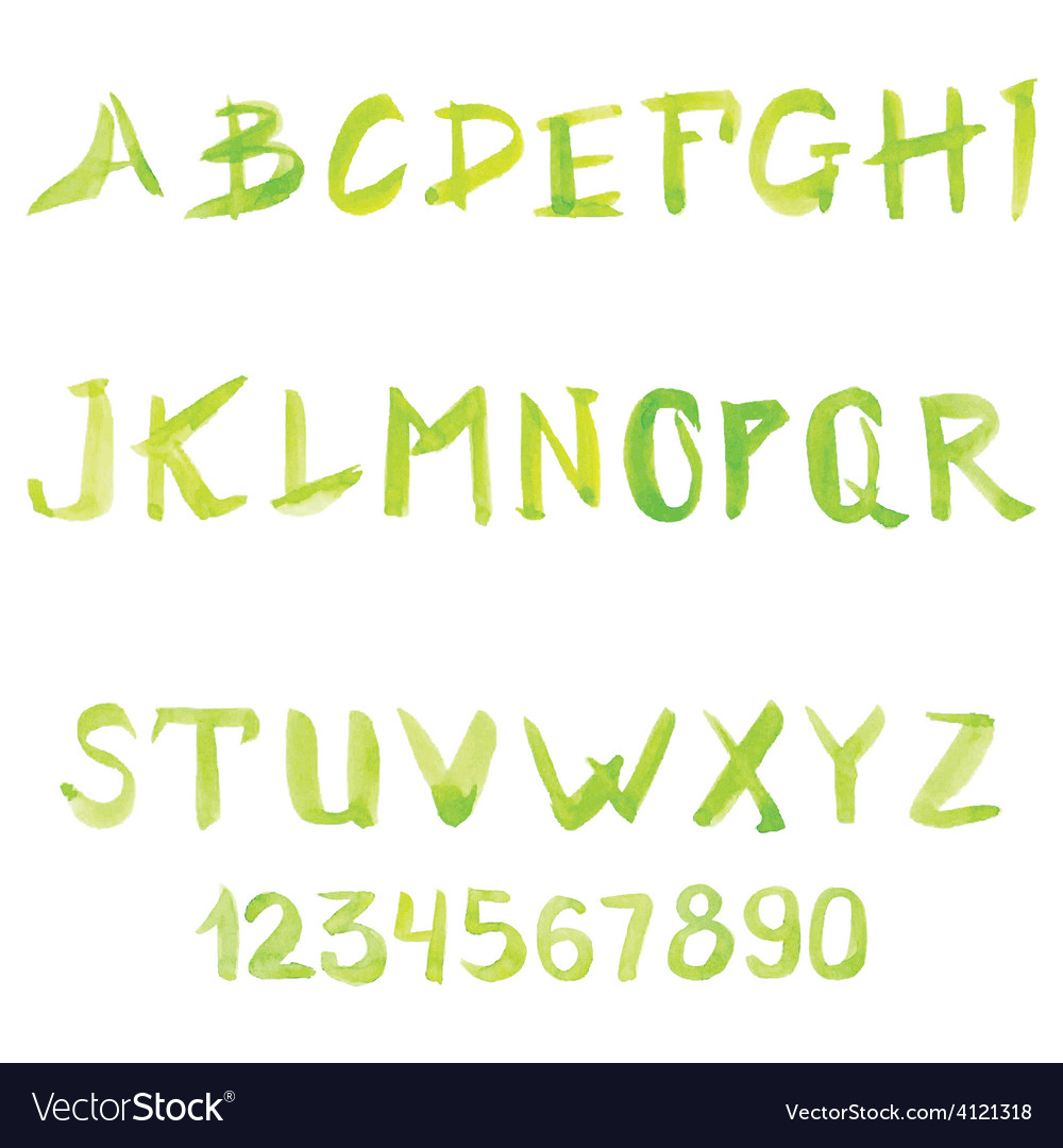Set of watercolor handwriting font vector