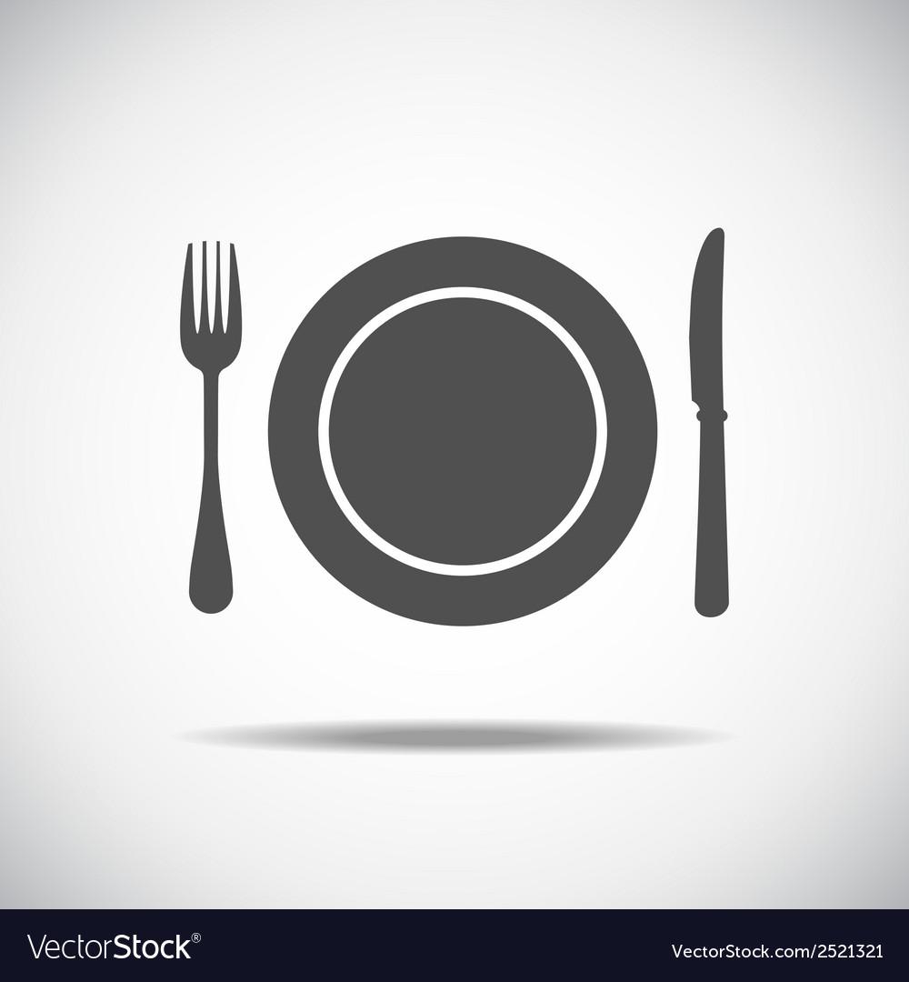 Knife plate fork vector