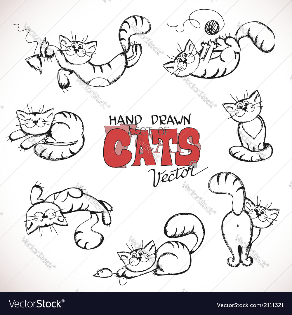 Sketch of playful cats vector
