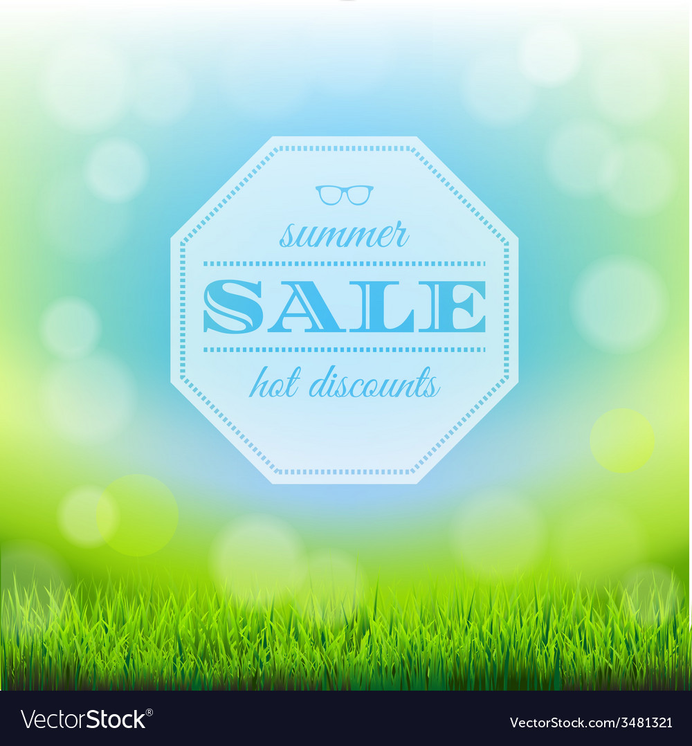 Summer sale banner with green grass vector