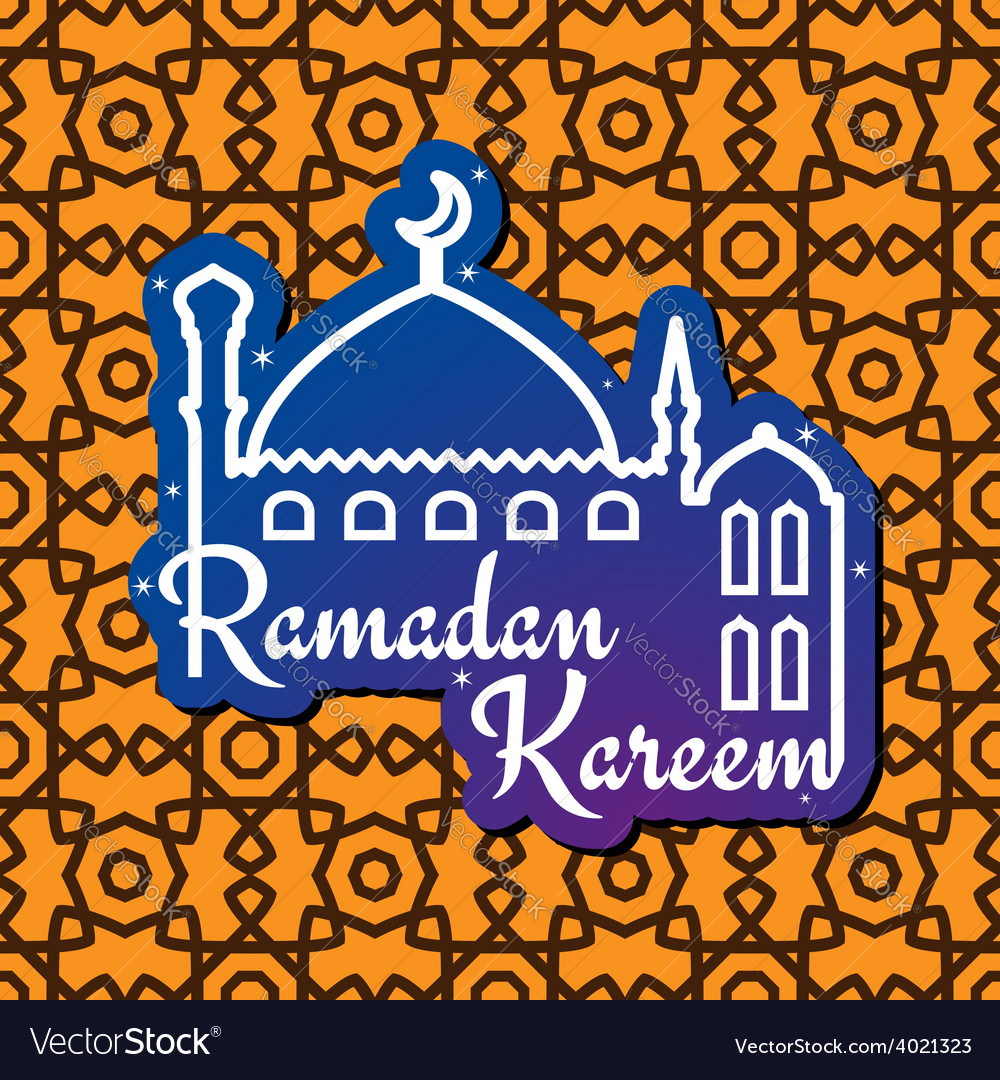 Ramadan greeting card with mosque silhouette vector