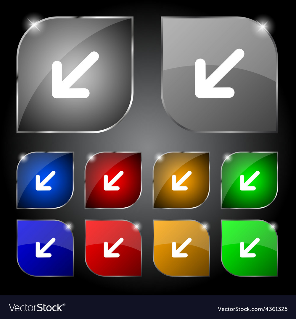 Turn to full screenicon sign set of ten colorful vector