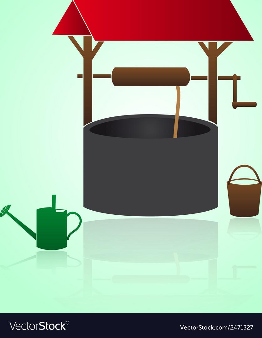 Water garden well eps10 vector