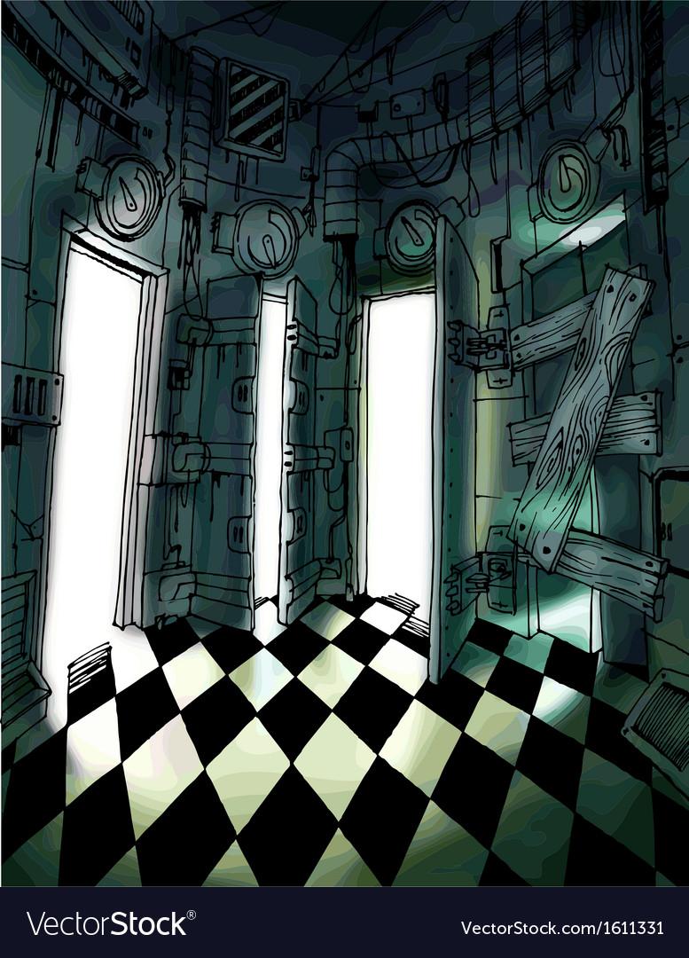 Dark room with many doors vector