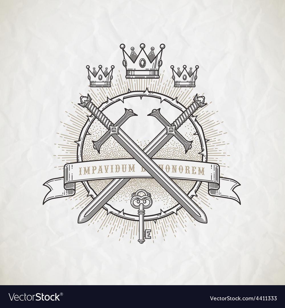 Abstract heraldic line art emblem vector