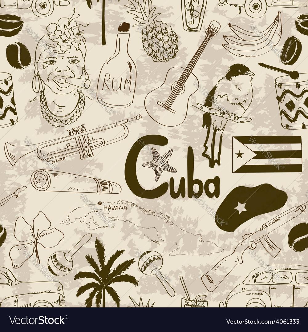Retro sketch cuban seamless pattern vector