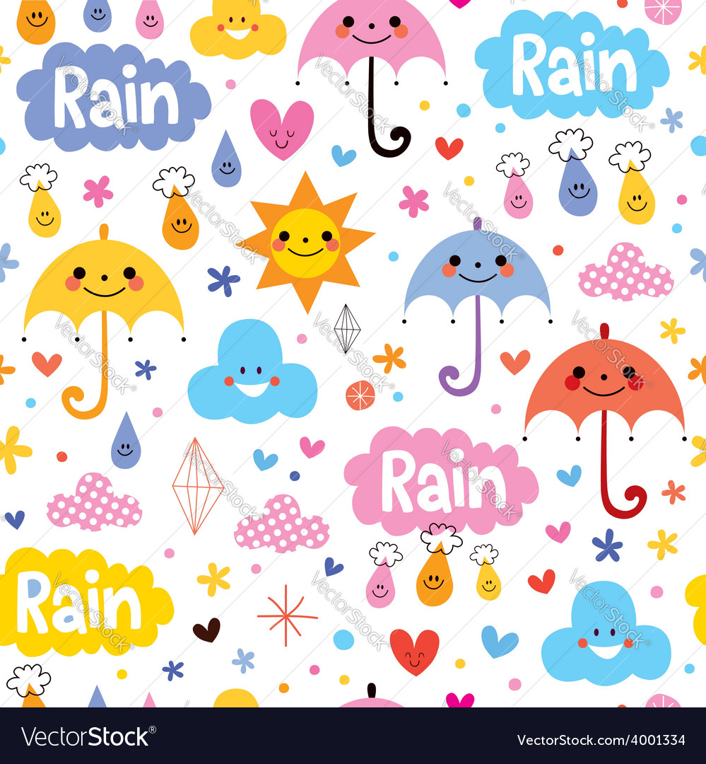 Cute umbrellas rain sky seamless pattern vector