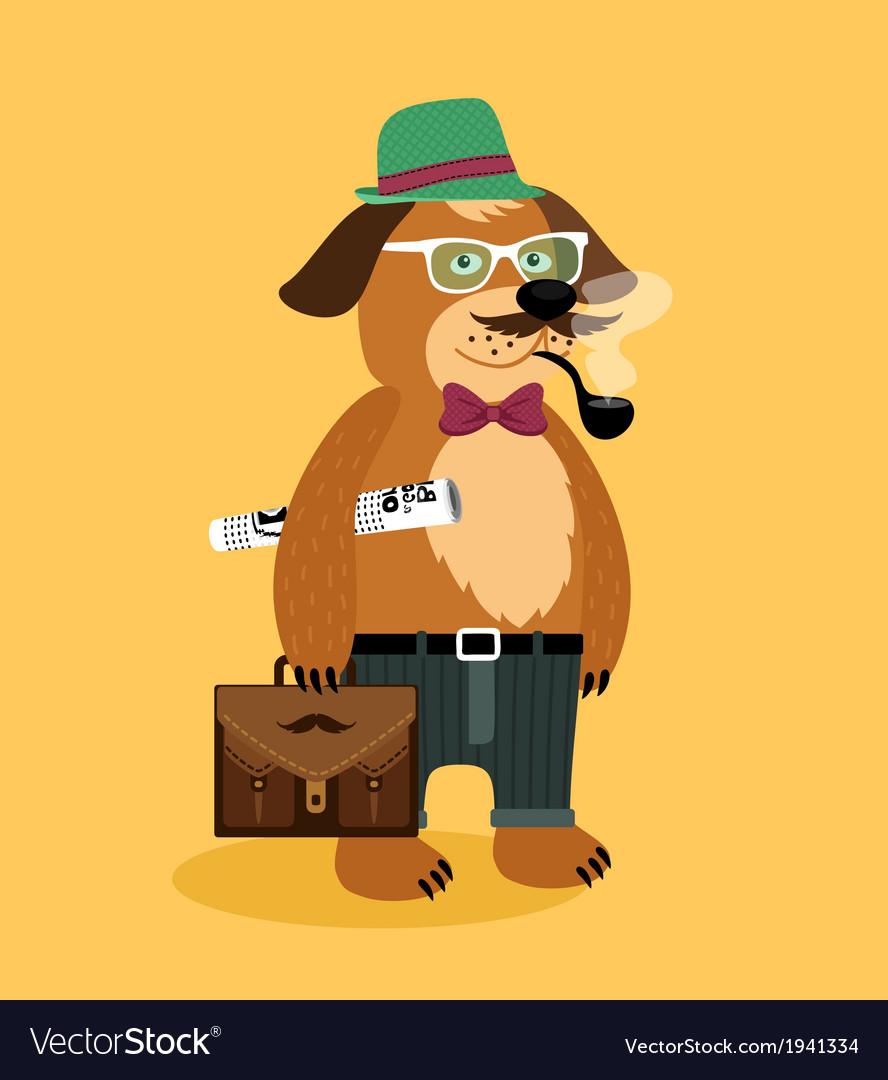 Hipster nerd puppy dog vector
