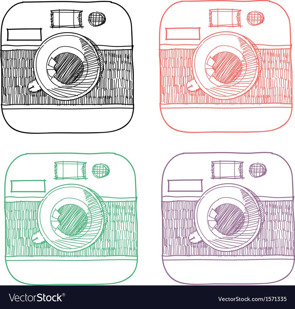 Handrawn instagram icons vector