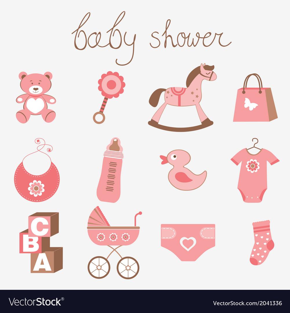 Baby shower girl vector