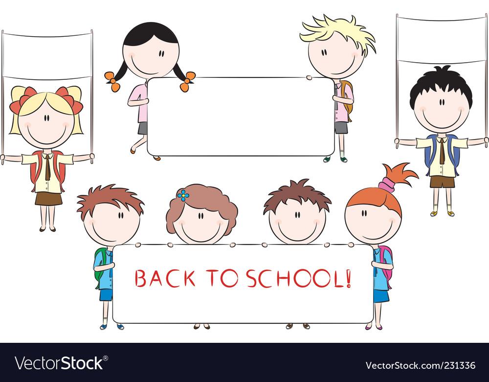 Cheerful happy cute kids holdi vector