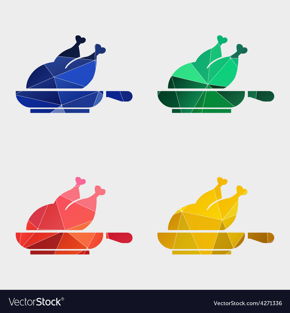 Chicken grill icon abstract triangle vector