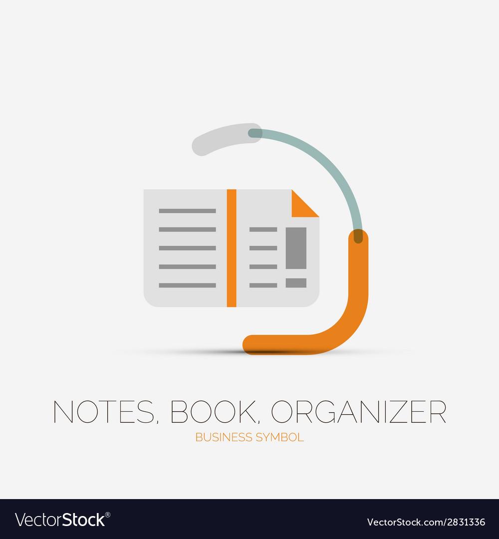 Note book page company logo minimal design vector
