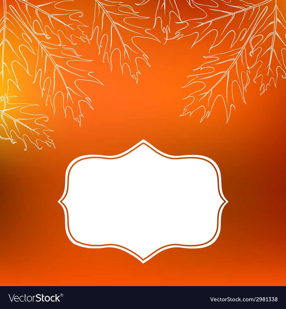 Card with autumn decor and leafs vector