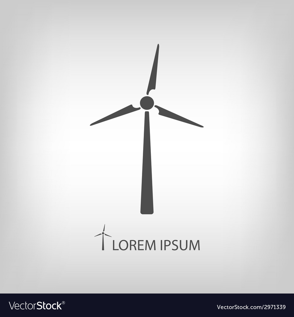Grey wind turbine vector