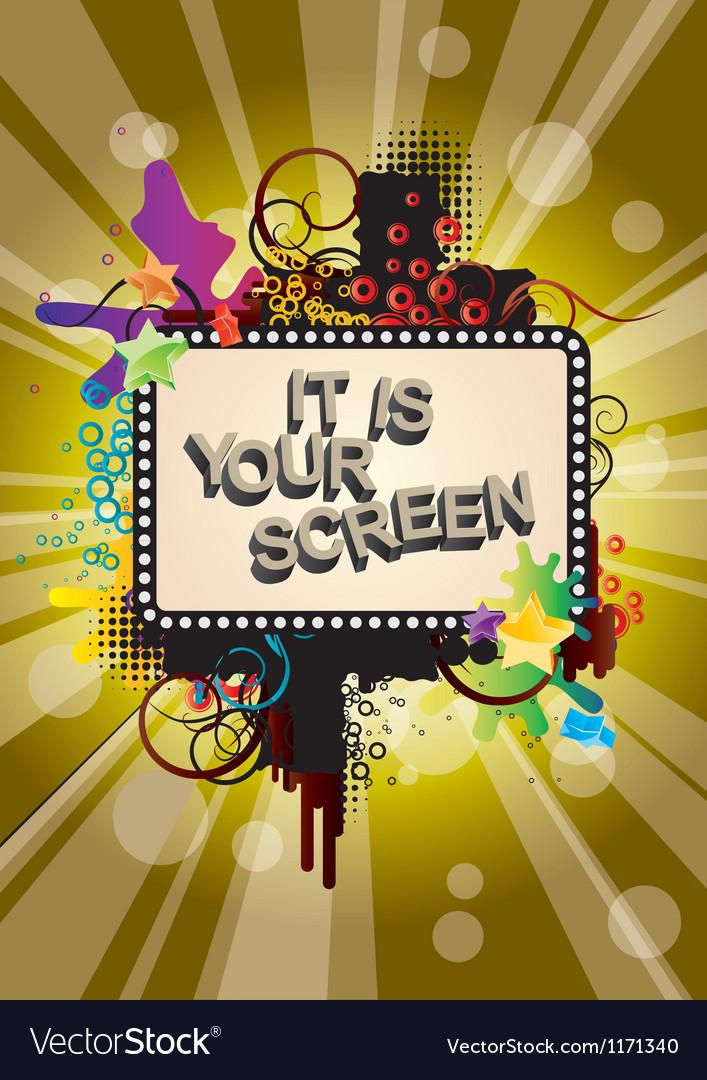 Grunge movie screen background vector