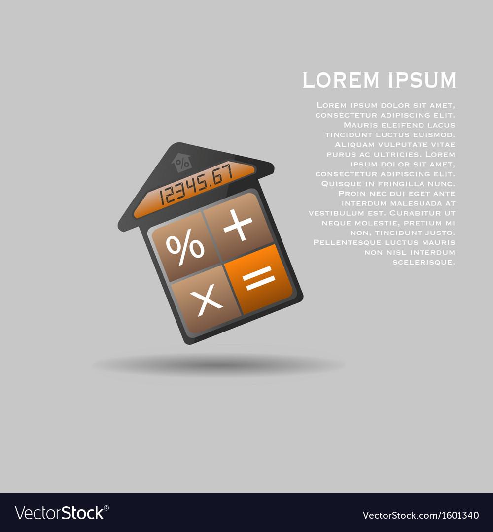 Unusual mortgage calculator icon vector