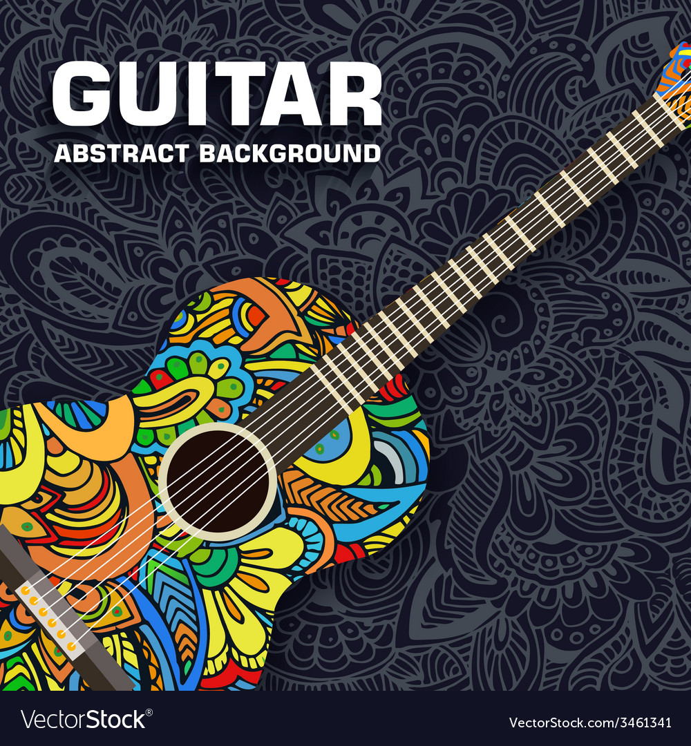 Abstract retro music guitar on the background of vector