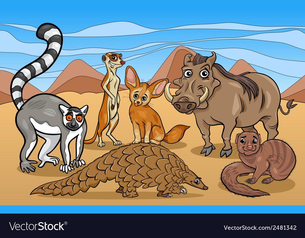 African mammals animals cartoon vector