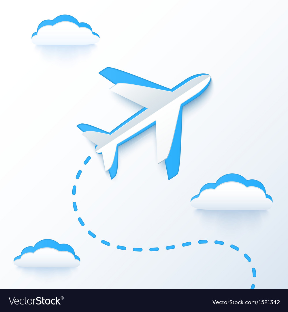 Blue paper flying plane in clouds vector