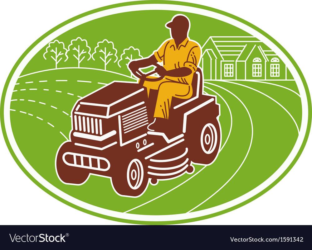 Male gardener riding lawn mower vector