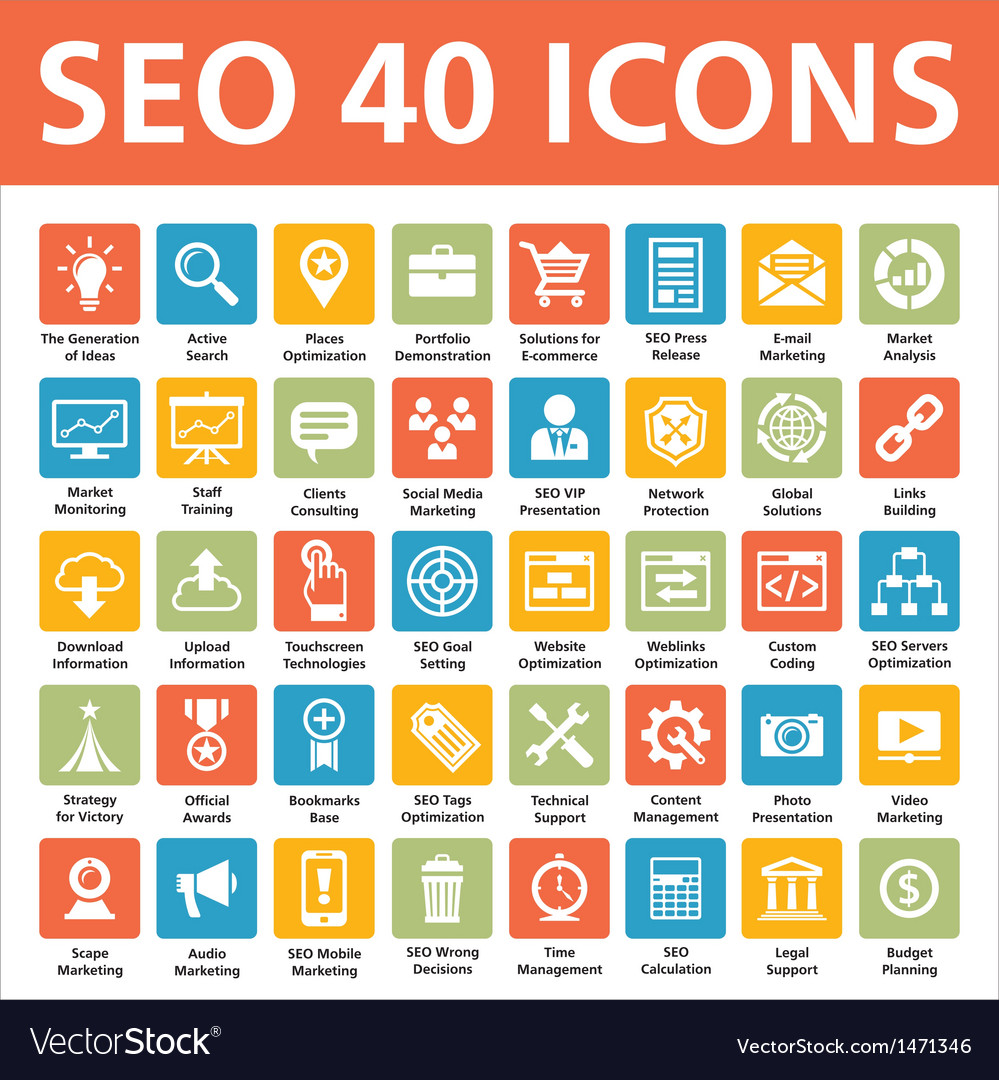 40 icons seo - search engine optimization vector
