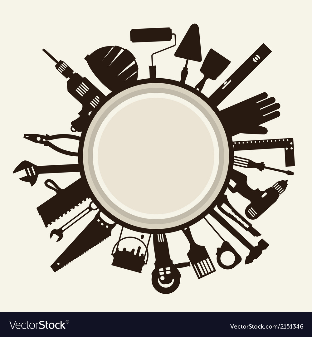 Repair and construction with working tools icons vector