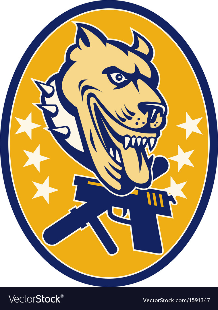 Angry pit bull with gun pistol baton and stars vector