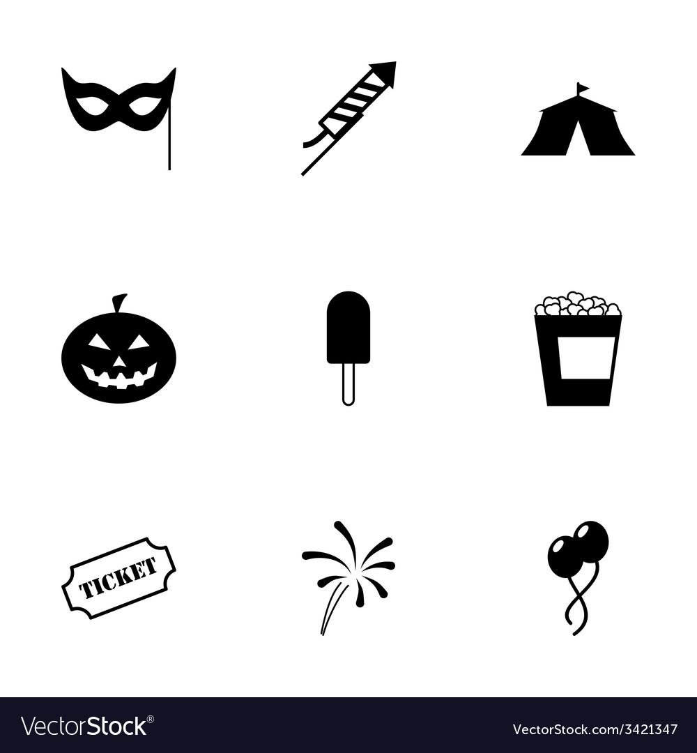 Black carnival icon set vector