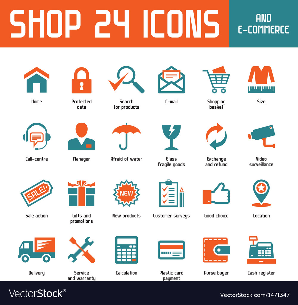 Shop 24 icons vector