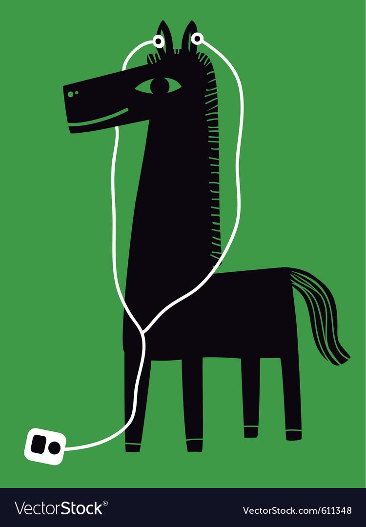 Horse with earphones vector