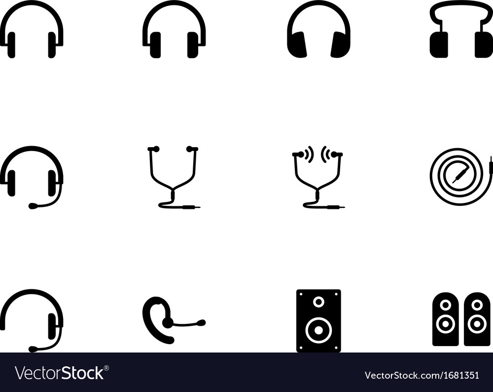 Headphones and speakers icons on white background vector