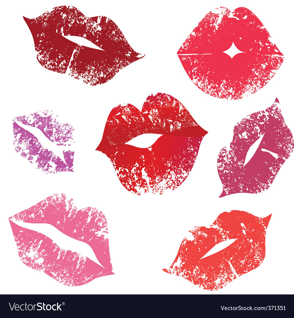 Print of lips kiss vector