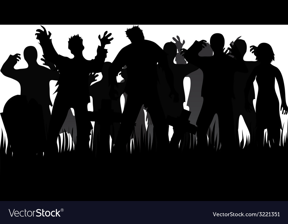 Silhouettes of zombies and tombstones vector