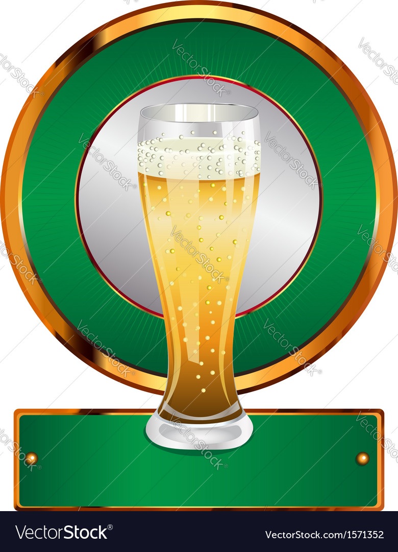 Label with beer glass vector