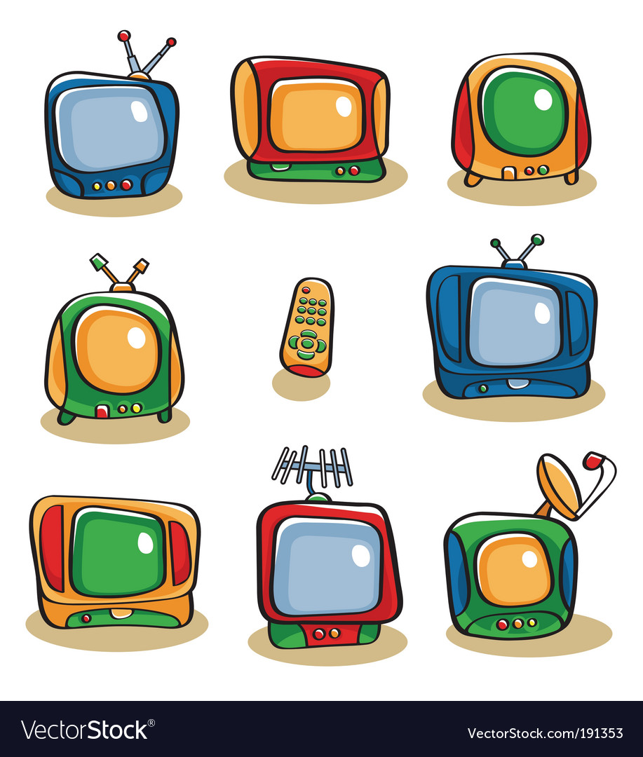 Tv icon set vector