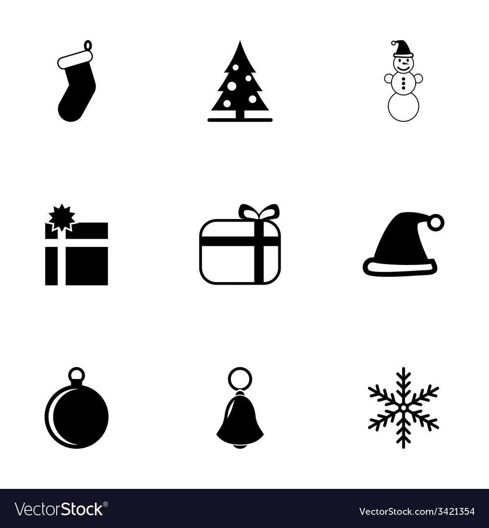 Black christmas icon set vector