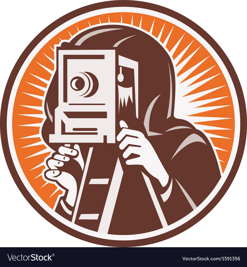 Photographer with vintage camera vector