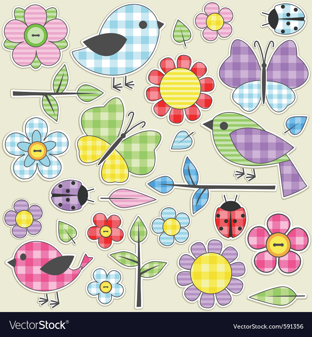 Textile stickers vector