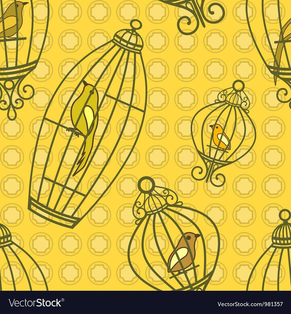 Bird in birdcages pattern vector