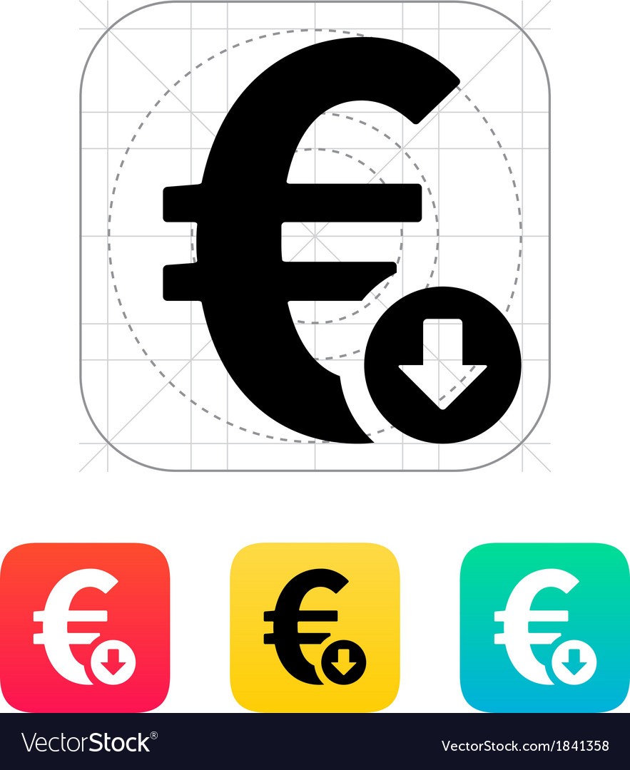 Euro exchange rate down icon vector