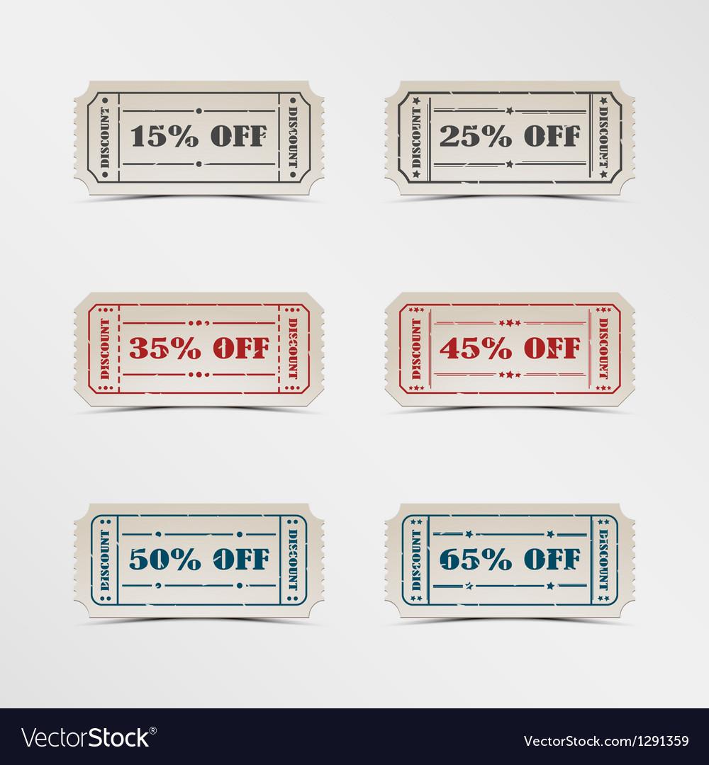 Collection discount vintage ticket vector
