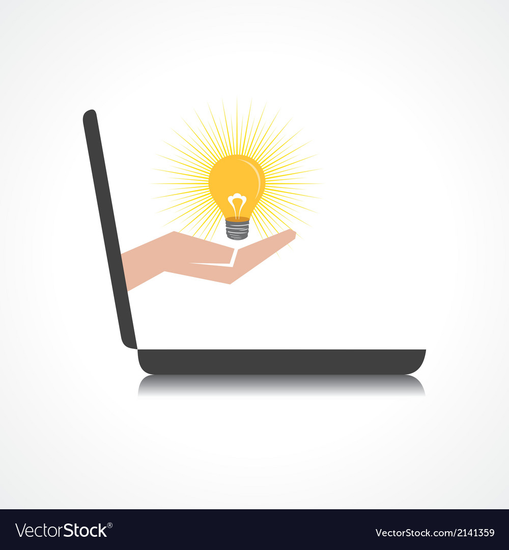 Hand holding light bulb comes from laptop screen vector
