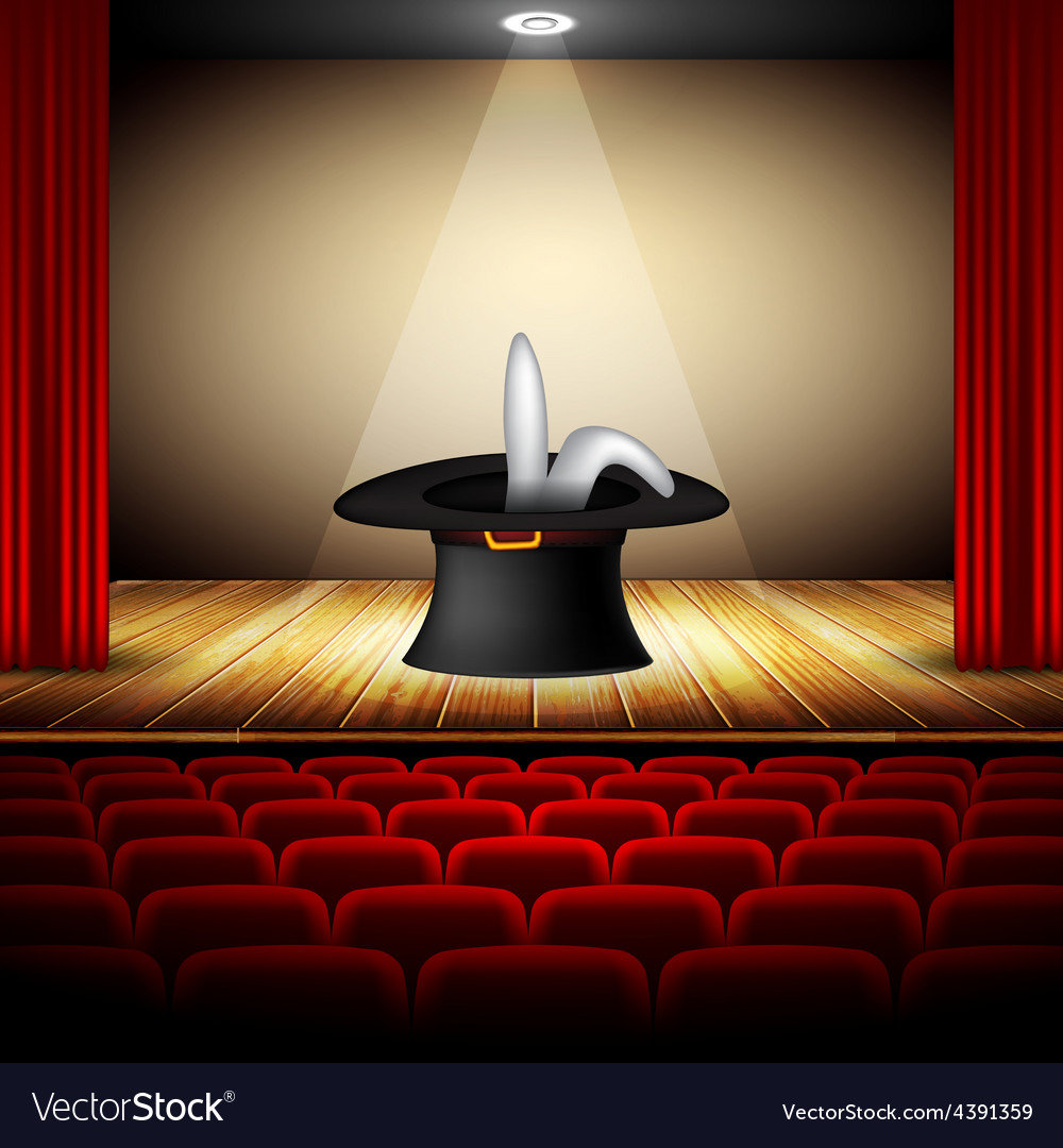 Hat magician on stage vector