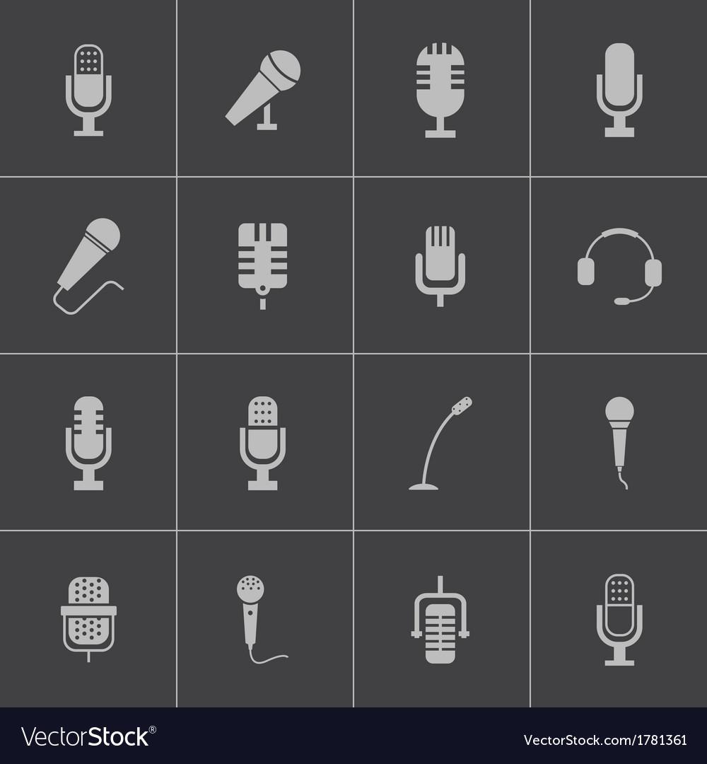 Black microphone icons set vector